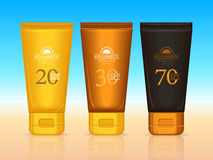 Sun Cosmetics Professional Series. Suntan Creams. Set of sun cosmetics professional series. Suntan creams 20 SPF, 30 SPF, 70 SPF. Sunscreen protection. Cosmetic Stock Photos