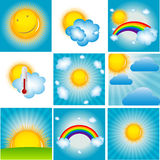 Sun and Coud Background Set Vector Illustration Stock Photos