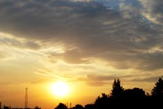 Sunset of a sun Royalty Free Stock Photo