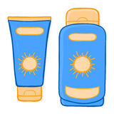Sun cream packaging and suntan lotion Royalty Free Stock Photo