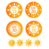 Sun Cream Round Orange Labels Spf Set. Vector. Sun Cream Round Orange Labels Spf Set Symbol Summer Solar Skin Protect. Vector illustration Stock Images
