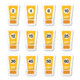 Sun cream, sunblock with factor or spv icons set. Vector icons of sun lotion tubes with different spv isolated on white Royalty Free Stock Image
