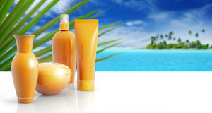 Sun cream in a tropical background Royalty Free Stock Photography