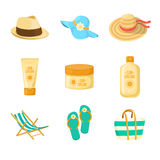 Sun creams. Hats. Beach accessroies Stock Photo