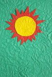 Sun on crumpled paper Royalty Free Stock Images