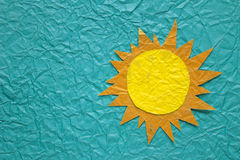 Sun on crumpled paper Royalty Free Stock Photography