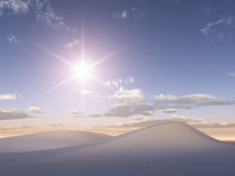 Sun on Crytal White Sand dunes Stock Images