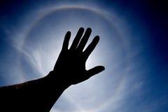 Sun cubrió a mano Imágenes de archivo libres de regalías