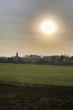 Sun d'abbaglio sopra Ottersleben HDR Immagini Stock