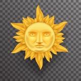 Sun d'or antique font face à la couronne du vecteur haut de conception 3d Transperent d'icône des flammes de calibre de moquerie  illustration libre de droits