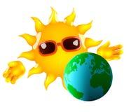 Sun 3d e terra Immagini Stock Libere da Diritti