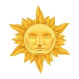 Sun d'or font face à la couronne antique du vecteur haut de conception 3d Transperent d'icône des flammes de calibre de moquerie  Images libres de droits