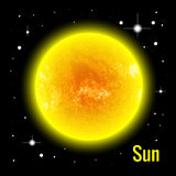 The Sun 3d vector illustration. High quality isometric solar system planets. Royalty Free Stock Images