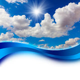 Sun dans la conception de couverture de ciel bleu Images libres de droits