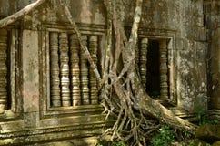 Sun dappled la ventana en Beng Mealea Imagenes de archivo