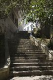 Sun dappled steps in Lisbon, Portugal. Stock Images