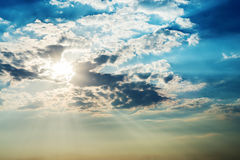 Sun in dark clouds Royalty Free Stock Photography