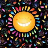 Sun darkness happy colorful seamless pattern Stock Photography