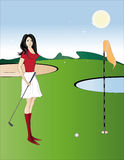 Sun day. A beautiful girl plays golf Royalty Free Stock Photos
