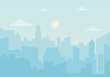 Sun day ozone in the city. Cityscape silhouette vector illustration. Stock Photo