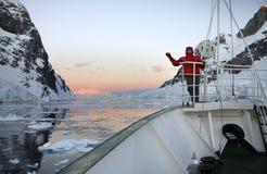 Sun de medianoche en Ant3artida Fotos de archivo libres de regalías