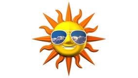 Sun de sorriso com os óculos de sol no fundo branco ilustração stock
