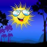 Sun de sorriso na ilustração do campo 3d ilustração stock