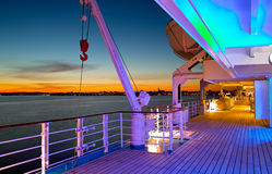 Sun deck. The sun deck of an cruiser in the evening Stock Photography