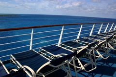 Sun Deck. Lounge Chairs on deck of cruise ship Stock Images