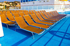 Sun deck. Deck chairs on cruise ship Stock Images