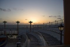 Sun Deck at Dawn. Sun deck of a cruise ship at dawn Stock Photo
