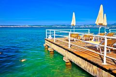 Sun deck on Lago di Garda view. Town of Sirmione, Lombardy region of Italy Stock Photography