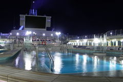 Sun Deck at Night. Cruise ship's sun deck at night Stock Images