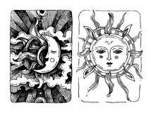 Sun decorativo y luna Fotografía de archivo