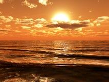 Sun, der über Ozeanwellen scheint. Lizenzfreie Stockfotos