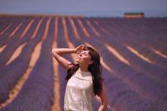 Sun, der auf dem Lavendelgebiet küsst Stockfotos