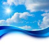 Sun im blauer Himmel-Abdeckungs-Entwurf lizenzfreie stockbilder