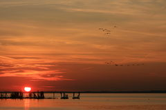 Sun, der den Delaware River berührt Stockbild