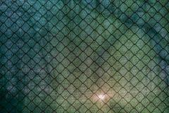 Sun, der durch das grüne Netz und einen Zaun scheint Stockfotografie