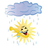 Sun, der eine Dusche nimmt Stockfoto