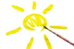 Sun in der Zeichnung des Kindes Lizenzfreie Stockfotos
