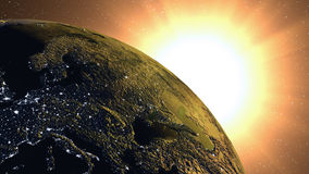 Sun derrière la terre Images stock