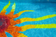 Sun design in swimming pool Stock Photo
