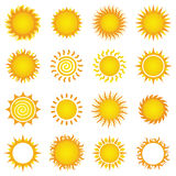 Sun Designs. Set of sun vector illustrations Royalty Free Stock Images