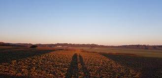 Sun detrás de sombras de los campos fotografía de archivo