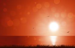 Sun di mattina in mare Immagine Stock