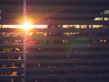Sun di mattina sulle biciclette a Lund, Svezia Immagine Stock Libera da Diritti