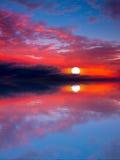 Sun di tramonto del mare Fotografia Stock Libera da Diritti