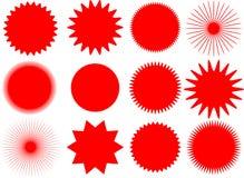 Sun di vettore e forme della stella Immagine Stock