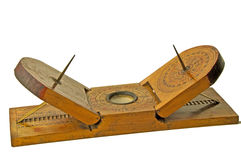 Sun dial of China. Chinese antique sun dial with compass Stock Photo